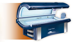 this is a Royal Sun tanning bed, notice the bench and canopy